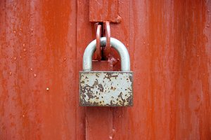 Lock on the red door.