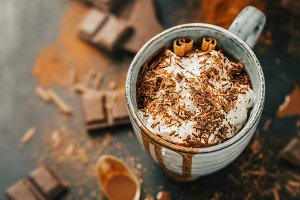 Tasty hot chocolate drink in mug