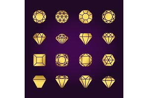 Diamonds shapes gold icons set