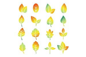 Colorful gradient leaf silhouettes