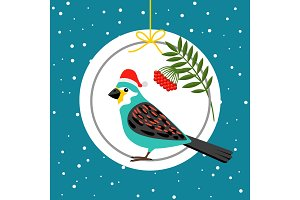Bird in Santa hat winter card