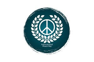 Peace day emblem with grunge