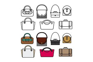 Purses and bags flat vector design