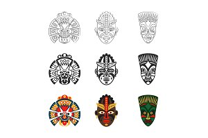 African mask icons set