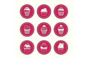 Cupcakes round icons set