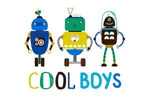 Cool boys robot t-shirt design