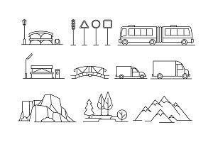 Line transportation, landscape isons