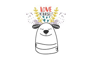Love yourself dog card template