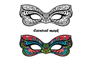 Coloring page carnival masks