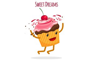 Happy cupcake charcter card
