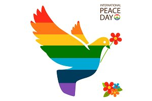 Rainbow dove with flower