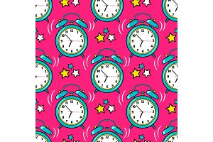 Bright alarm clock seamless pattern