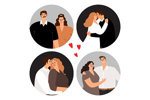 Couples in love round avatars