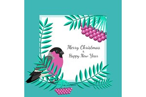 Bullfinch and rowan branches card