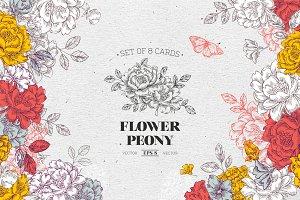 Peony flower cards