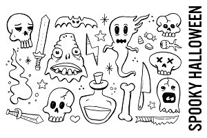 Spooky Halloween Doodle Clipart