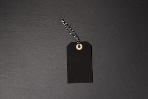 Black background and black price tag