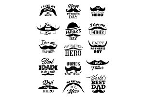 Father Day icons with mustaches