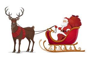 Christmas Santa sleigh with reindeer