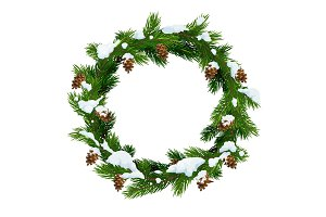 Christmas snowy wreath frame, vector