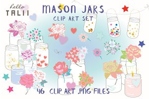 Mason Jars Clip Art