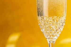 Glass of Champagne and ribbon