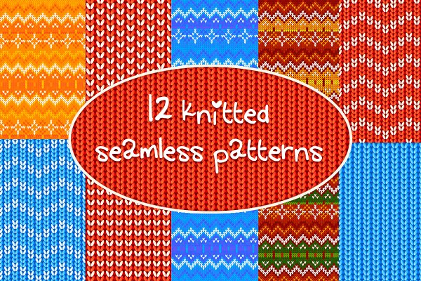 12 knitted vector seamless patterns
