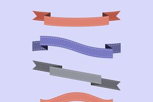 Set of colorful ribbon vectors