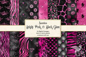 Bright Pink and Black Glam Patterns