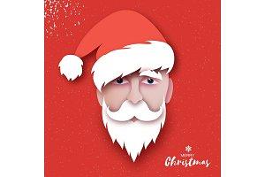 Santa Claus hat and beard in paper