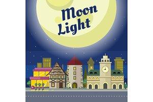 Moon Light. Urban City Illustration