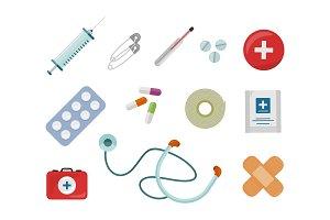 Set of Medical Supplies Vectors in