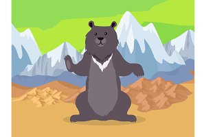 Brown Bear in Asia Mountains Icon
