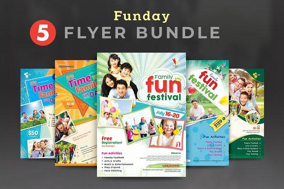 family fun day flyer bundle flyer templates creative market