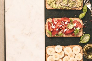 Healthy sandwiches, space for text