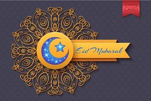 Eid Mubarak Abstract Greeting Card