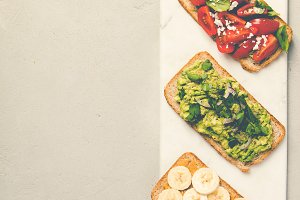 Healthy sandwiches, flat lay
