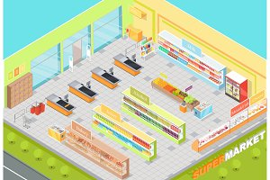 Supermarket Departments Interior 3d