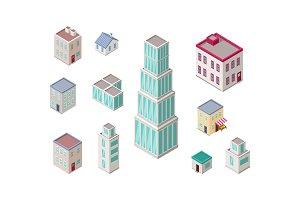 Isometric City Buildings Vector Set