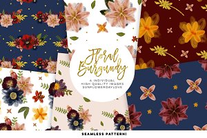 Floral burgundy Digital Paper Set