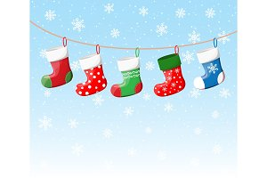 Christmas stockings in various