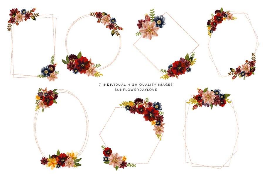 568de4f27c7 Floral burgundy geometric frame ~ Illustrations ~ Creative Market
