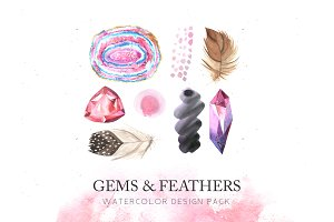Watercolor Gems & Feathers Set