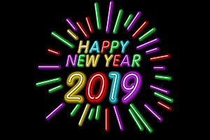 2019 Happy New Year Neon Text Design
