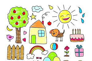 Colored Children Drawings Elements