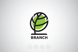 Oval Branch Tree Logo Template