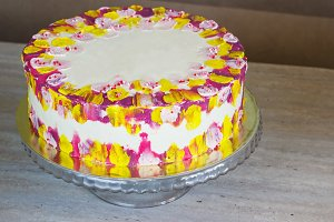 White Birthday cake with colorful