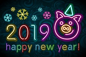 Cute pig neon, happy New year 2019