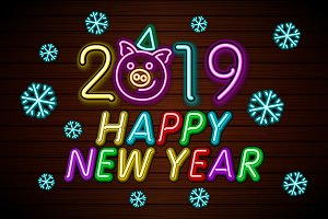Happy New Year 2019 design neon