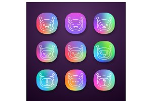 Robot emojis app icons set